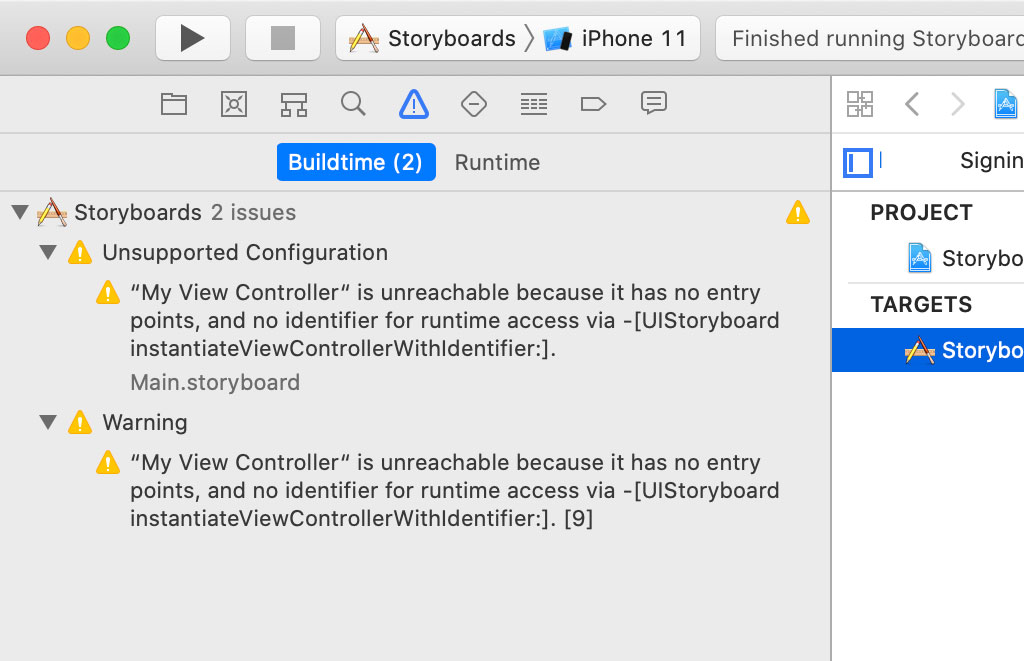 Main.storyboard contains an unreachable view controller.